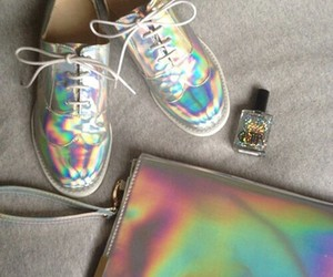 shoes, holographic, and hologram image