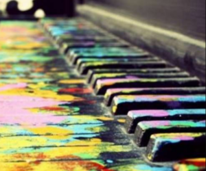 art, colours, and music image