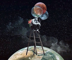 art, balloons, and moon image