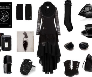 black, outfit, and witch image