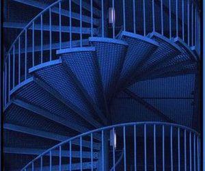 blue, dark blue, and spiral stairway image