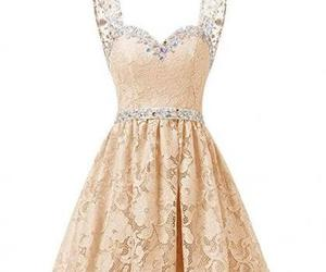 short prom dress, lace homecoming dress, and beading homecoming dress image