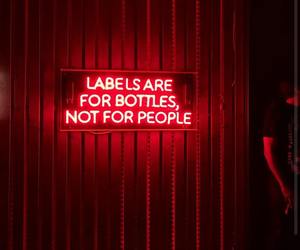 labels, people, and red image