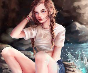 anime girl, mar, and rock image