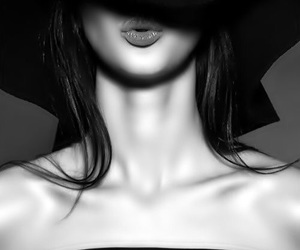 black and white, black, and hat image