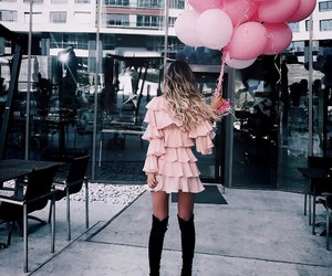 pink, balloons, and dress image