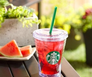 starbucks, watermelon, and drink image
