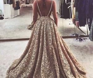 dress, elegant, and golden image