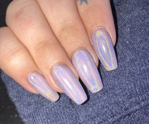 nails, holographic, and purple image