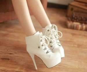 shoes, white, and high heels image