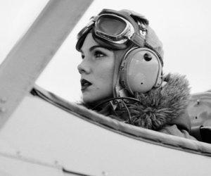 photography, plane, and woman image