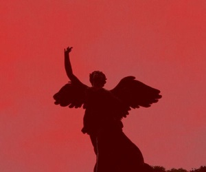 red, aesthetic, and angel image