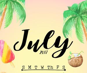 beach, calendar, and july image