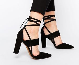 black, sandals, and strappy heels image