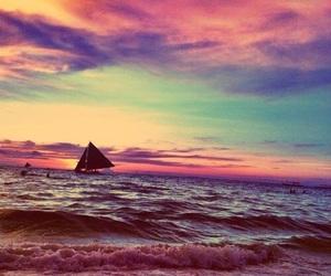 beach, glisten, and orange image