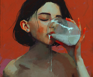 art, girl, and milk image