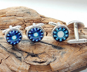 iron man cufflinks, etsy, and arc reactor image