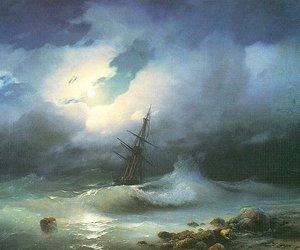 boat, ocean, and storm image