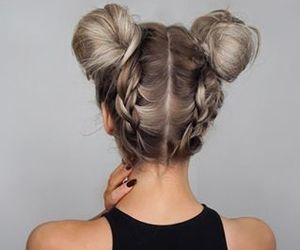 black nails, braids, and buns image