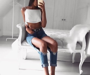 brunette, levi's, and fit image