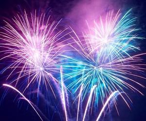fireworks, blue, and lights image