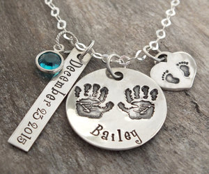 etsy, hand stamped, and mother necklace image