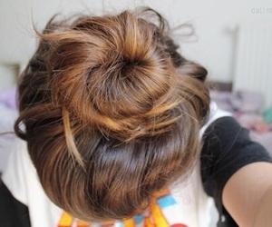 hair, bun, and tumblr image