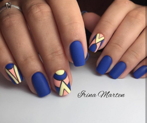 blue, nails, and yellow image