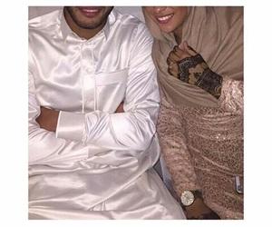 couple, henna, and hijab image