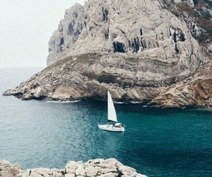 ocean, boat, and nature image