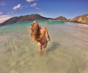 beach, sea, and blonde image
