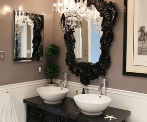 chandelier, big mirror, and vintage look image