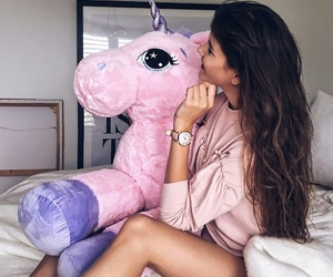 girl, pink, and unicorn image