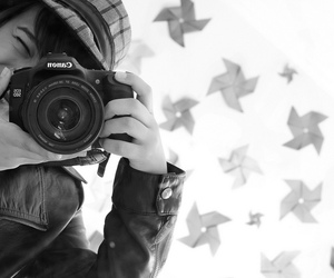 black and white, camera, and canon image