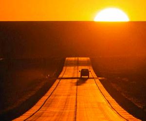 orange, road, and sunset image