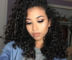 curly hair, natural, and eyeshadow image
