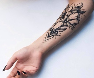 arm, black, and flowers image