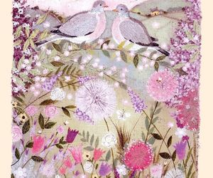 art, bird, and flowers image