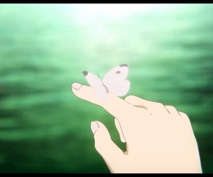anime, butterfly, and hand image