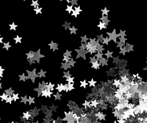 stars, black and white, and gray image