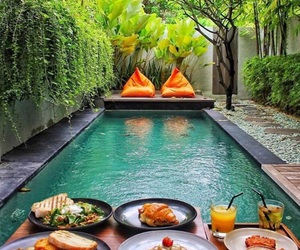 food, pool, and travel image