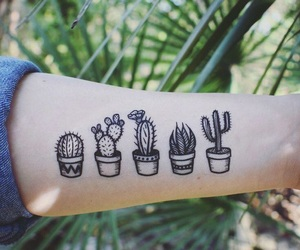 art, cactus, and tattoo image