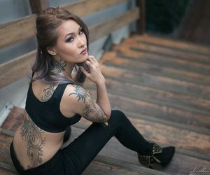 asian, chest tattoo, and miss anne image