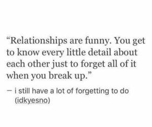 quote, break up, and forget image