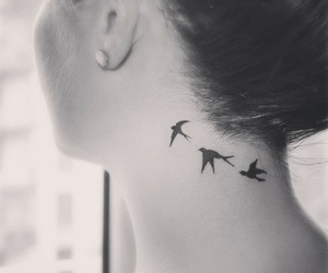 tattoo, bird, and neck image