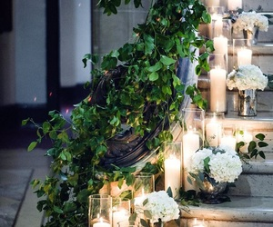 wedding, candle, and flowers image