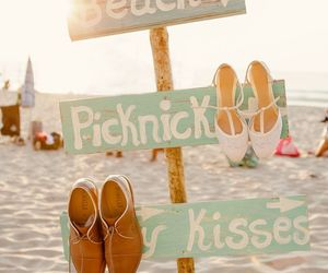 beach, summer, and kiss image
