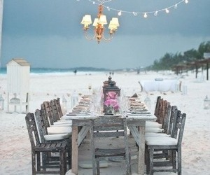 beach, light, and wedding image