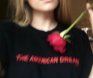 girl, rose, and black image