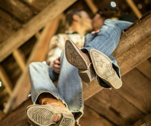 barn, country, and cowboy boots image